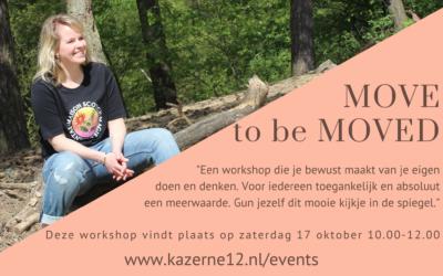"""Workshop """"Move to be Moved"""" 17 oktober en 28 november"""